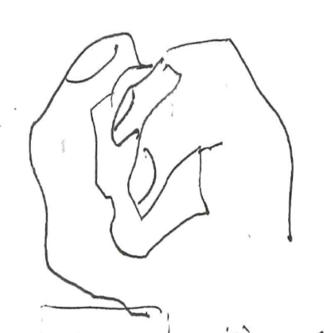 Image 3: 'Dual perspective of the grip'. A sketch as expression of interaction between the active grip and the plastic clay. The grip is simultaneously perceived as resting, enveloping and as a force (felt-tip pen). (Heimer, 2020, p. 144).
